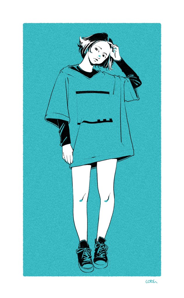 1girl black_shirt blue_shirt blue_theme cotoh_tsumi full_body long_sleeves looking_at_viewer monochrome original oversized_clothes oversized_shirt shirt shoes short_hair short_over_long_sleeves short_sleeves signature solo standing t-shirt