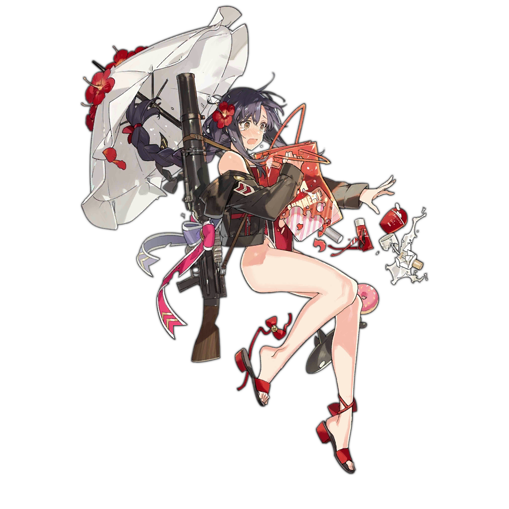 1girl :p bag bangs bare_shoulders beach beach_umbrella black_hair bow braid brown_eyes doughnut flower food full_body girls_frontline gun hair_between_eyes hair_flower hair_ornament hair_ribbon holding holding_bag holding_umbrella jacket legs lewis_(girls_frontline) lewis_gun long_hair long_sleeves looking_to_the_side machine_gun off_shoulder official_art open_mouth over_shoulder ribbon sandals sandals_removed solo starshadowmagician tears tongue tongue_out transparent_background umbrella weapon weapon_over_shoulder