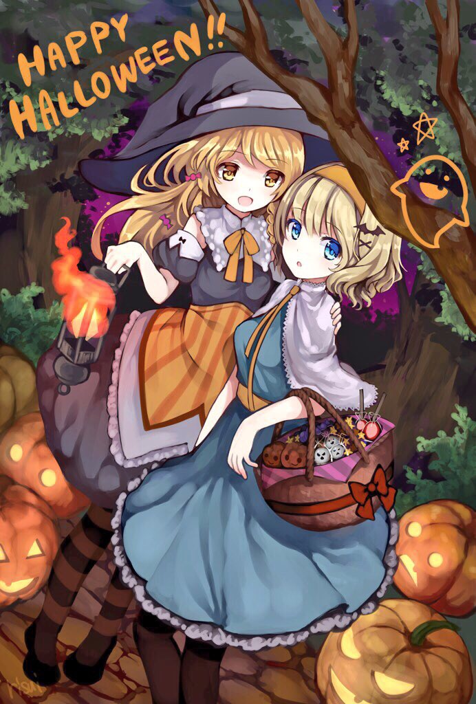 2girls alice_margatroid apron artist_name basket bat bat_hair_ornament black_dress black_footwear blonde_hair blue_dress blue_eyes braid candy capelet commentary dress fire flame food ghost hair_ornament hairband hairclip halloween hand_on_shoulder happy_halloween hat holding jack-o'-lantern kirisame_marisa lantern long_hair multiple_girls open_mouth orange_hairband pumpkin ribbon risui_(suzu_rks) short_hair short_sleeves smile star striped striped_legwear touhou tree witch_hat yellow_eyes