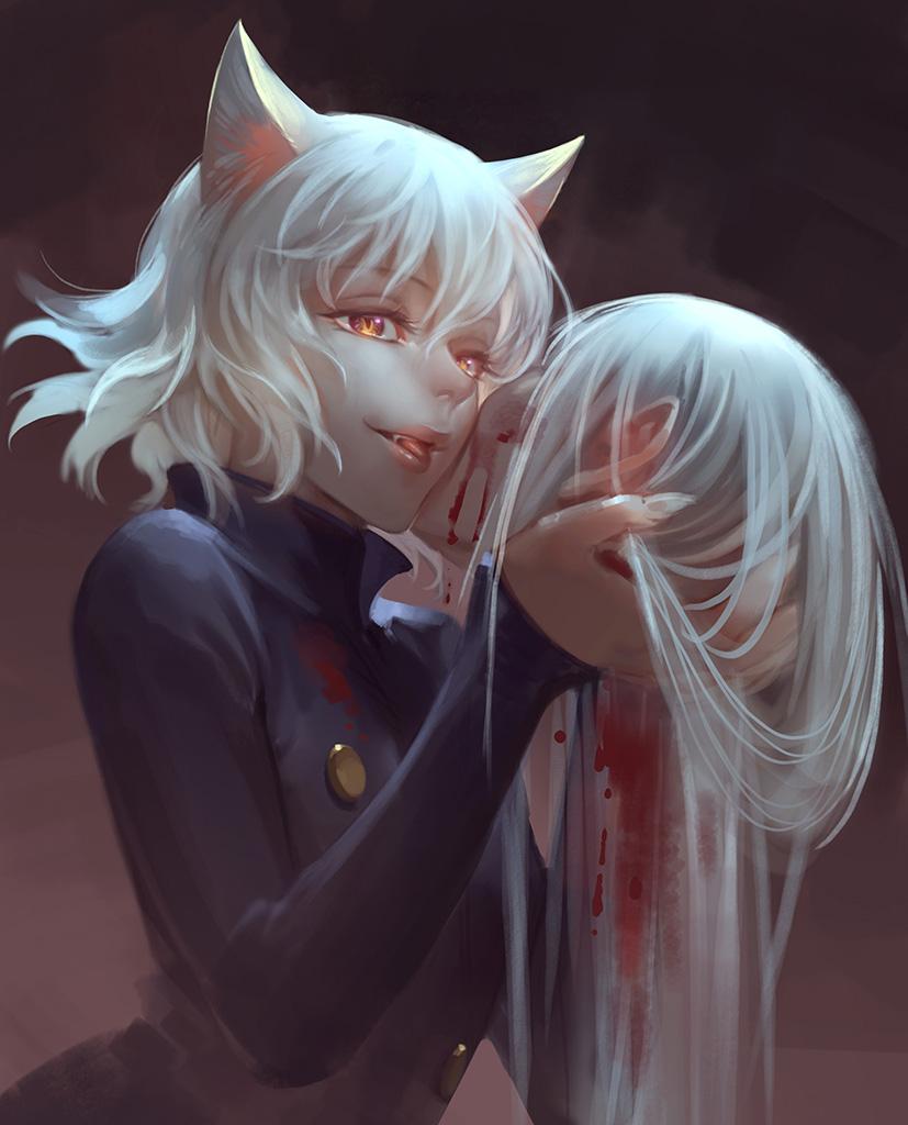 1boy 1girl akakokko_(niro_azarashi) animal_ears blood cat_ears decapitation hunter_x_hunter kite_(hunter_x_hunter) neferpitou short_hair spoilers tongue white_hair yellow_eyes