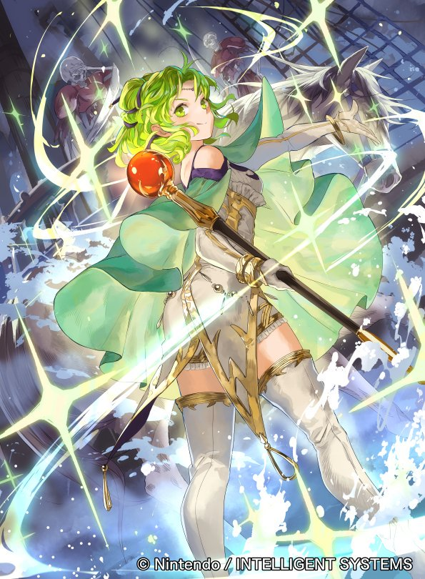 1girl bangs boots cape commentary_request company_connection copyright_name fire_emblem fire_emblem:_the_sacred_stones fire_emblem_cipher gloves green_eyes green_hair jewelry l'arachel_(fire_emblem) long_hair looking_at_viewer looking_back mayo_(becky2006) official_art skirt staff thigh-highs thigh_boots tied_hair white_footwear zettai_ryouiki