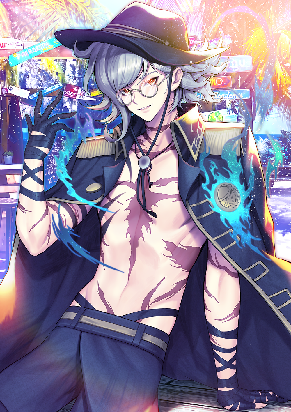 1boy bandaged_hand black_jacket chest_tattoo commentary_request edmond_dantes_(fate/grand_order) energy fate/grand_order fate_(series) fedora glasses hat highres jacket jewelry key key_necklace kyundoo long_hair looking_at_viewer male_focus necklace red_eyes sign smile tattoo wavy_hair white_hair yellow_eyes