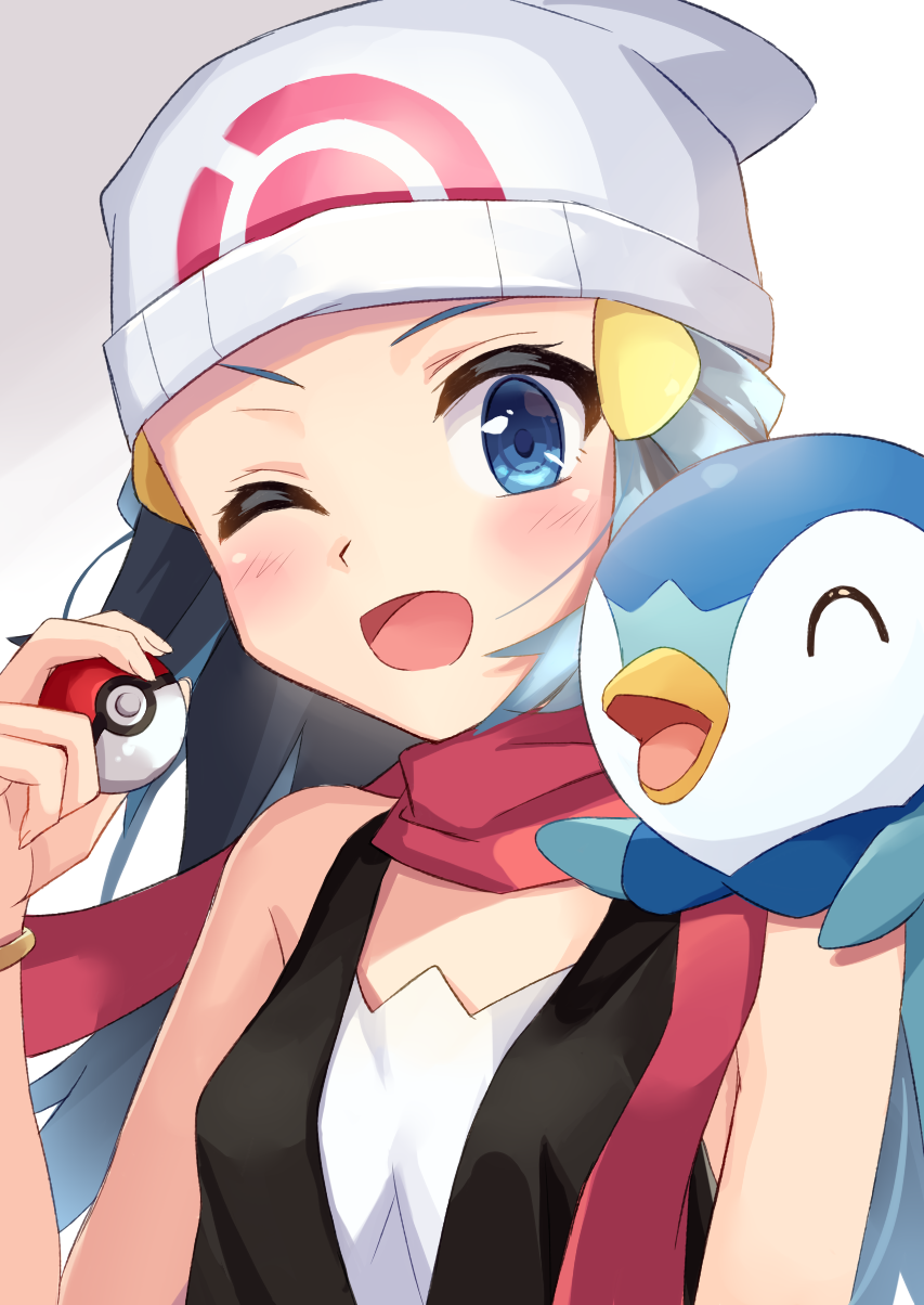 1girl 1other ;d ^_^ animal bare_arms bare_shoulders beanie bird black_hair black_shirt blue_eyes blue_hair blush breasts closed_eyes commentary_request creatures_(company) game_freak gen_4_pokemon gradient_hair hair_ornament hand_up hat highres hikari_(pokemon) holding holding_poke_ball human multicolored_hair nintendo olm_digital on_shoulder one_eye_closed open_mouth penguin piplup poke_ball poke_ball_(generic) poke_ball_symbol pokemon pokemon_(anime) pokemon_(creature) pokemon_(game) pokemon_dppt pokemon_masters pokemon_on_shoulder red_scarf scarf shirt sleeveless sleeveless_shirt small_breasts smile sutei_(xfzdarkt) upper_body v-shaped_eyebrows white_headwear