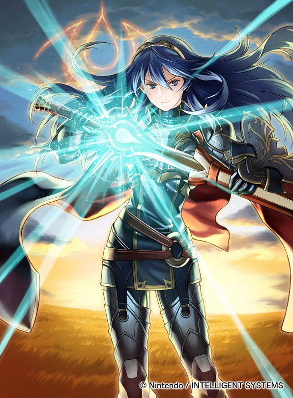 1girl blue_eyes blue_hair cape closed_mouth commentary_request company_connection copyright_name falchion_(fire_emblem) fire_emblem fire_emblem_awakening fire_emblem_cipher hair_ornament holding holding_sword holding_weapon jewelry kita_senri long_hair looking_at_viewer lucina_(fire_emblem) outdoors serious sheath shield solo standing sunrise sword tiara weapon
