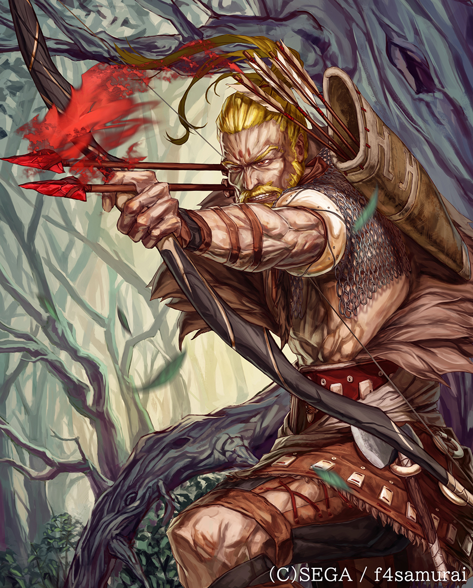 1boy arrow bare_tree beard blonde_hair bow_(weapon) chainmail clenched_teeth company_name dated day facial_hair hatchet highres holding holding_bow_(weapon) holding_weapon hortensia_saga long_hair male_focus muscle mustache official_art outdoors ponytail quiver shita_to_hidari sideburns solo standing teeth tree watermark weapon