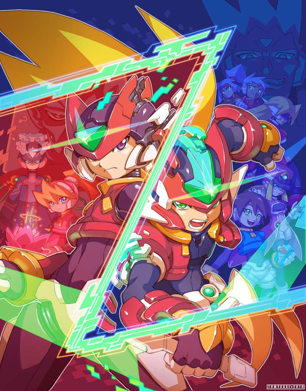 4girls 6+boys aile android ashe_(rockman) blonde_hair blue_eyes brown_hair ciel_(rockman) closed_mouth commentary energy_sword english_commentary girouette grey_(rockman) grey_hair helmet highres holding holding_weapon livemetal long_hair model_zx multiple_boys multiple_girls official_style open_mouth ponytail power_armor prairie rockman rockman_zero rockman_zx rockman_zx_advent serpent_(rockman_zx) short_hair sword tomycase vent weapon x_(rockman) zero_(rockman)