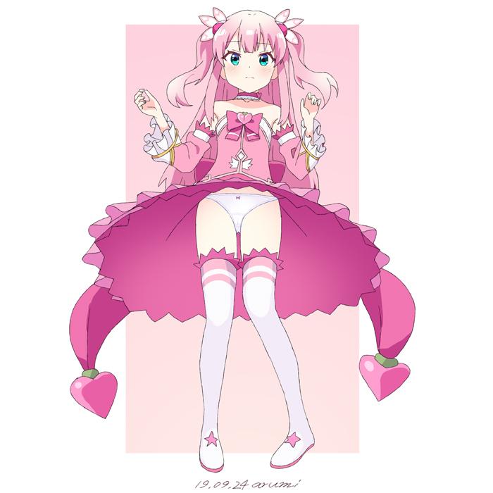 1girl baba_arumi blush boots bow chiyoda_momo choker gloves machikado_mazoku magical_girl panties pink_hair ribbon shiny shiny_hair short_hair skirt thigh-highs thigh_boots twintails underwear upskirt