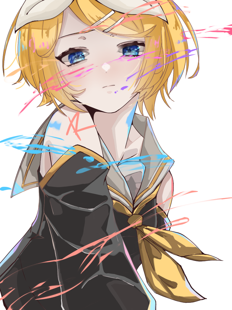 1girl bangs bare_shoulders black_shirt black_sleeves blonde_hair blue_eyes bow closed_mouth collared_shirt commentary detached_sleeves expressionless grey_collar hair_bow hair_ornament hairclip kagamine_rin light_blush looking_down neckerchief paint_splatter shirt short_hair sleeveless sleeveless_shirt solo swept_bangs tsuu_(user_cxuk7483) upper_body vocaloid white_background white_bow yellow_neckwear