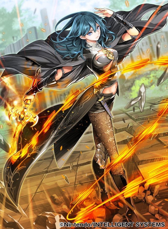 1girl armor bangs black_armor black_footwear blue_eyes blue_hair byleth_(fire_emblem) byleth_(fire_emblem)_(female) dagger fire_emblem fire_emblem:_three_houses fire_emblem_cipher gloves glowing glowing_sword glowing_weapon hair_between_eyes jacket looking_at_viewer official_art pantyhose stomach sword tagme toyo_sao tunic weapon whip_sword