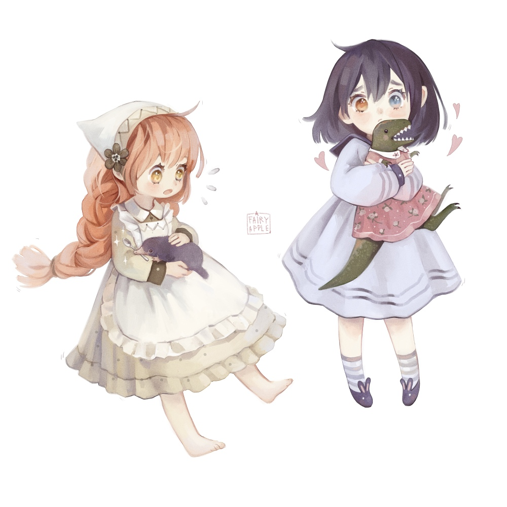2girls animal apron artist_name bangs barefoot black_hair blue_eyes bob_cut braid brown_dress brown_eyes child clothed_animal dinosaur dress fairyapple flower flying_sweatdrops frown full_body hair_flower hair_ornament head_scarf heart heterochromia holding holding_animal long_hair looking_at_viewer mouth_hold multiple_girls original pink_dress platypus purple_dress redhead shoes short_hair simple_background socks sparkle spoon standing striped striped_legwear white_background worried yellow_eyes