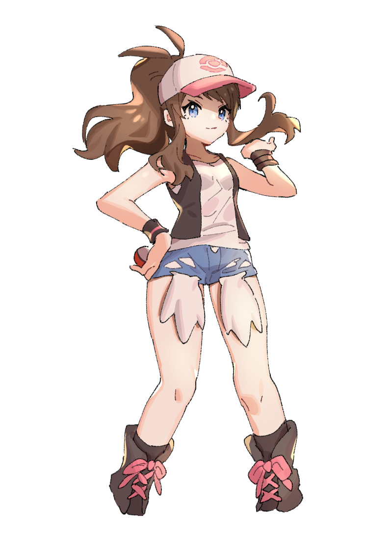 1girl ankea_(a-ramo-do) bare_shoulders baseball_cap black_footwear black_legwear black_vest blue_eyes blue_shorts boots breasts brown_hair closed_mouth collarbone hand_on_hip hand_up happy hat holding holding_poke_ball long_hair looking_at_viewer pink_headwear poke_ball poke_ball_(generic) poke_ball_symbol poke_ball_theme pokemon pokemon_(game) pokemon_bw ponytail shirt short_shorts shorts simple_background sleeveless sleeveless_shirt small_breasts smile socks solo standing tied_hair touko_(pokemon) vest white_background white_shirt wristband