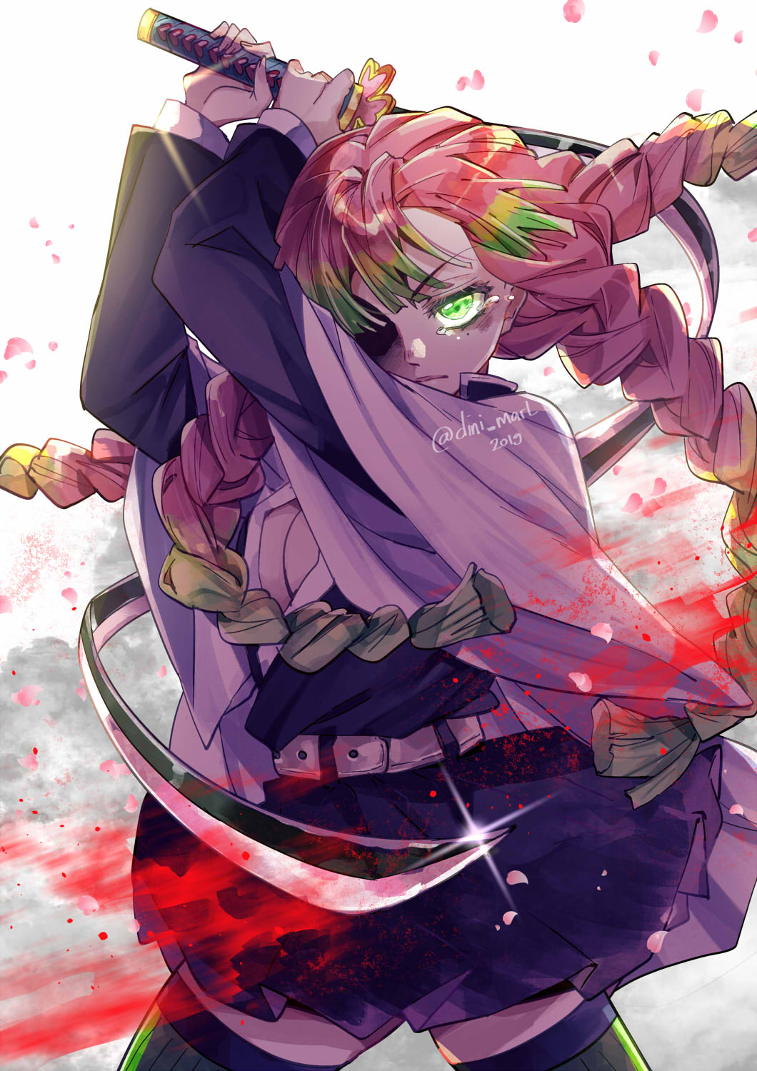 1girl blood braid cowboy_shot crying dinimarlina gradient_hair green_eyes highres holding holding_sword holding_weapon kanroji_matsuri kimetsu_no_yaiba looking_at_viewer multicolored_hair multiple_braids petals pink_hair pleated_skirt skirt solo sword tears thigh-highs uniform weapon white_background zettai_ryouiki