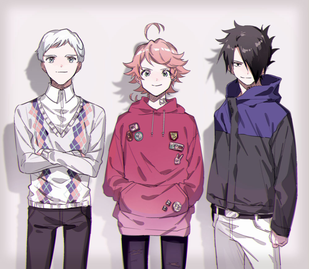 1girl 2boys ahoge argyle argyle_sweater arm_at_side belt black_hair black_pants boy_sandwich braid casual clenched_hand closed_mouth collared_shirt cowboy_shot crossed_arms dress_shirt emma_(yakusoku_no_neverland) green_eyes hair_over_one_eye hands_in_pocket hood hood_down hoodie jacket long_sleeves looking_at_viewer maniwa multiple_boys norman_(yakusoku_no_neverland) one_eye_covered pants ray_(yakusoku_no_neverland) redhead sandwiched shirt side-by-side side_braid single_braid smirk sweater torn_clothes torn_pants white_hair white_pants white_shirt yakusoku_no_neverland