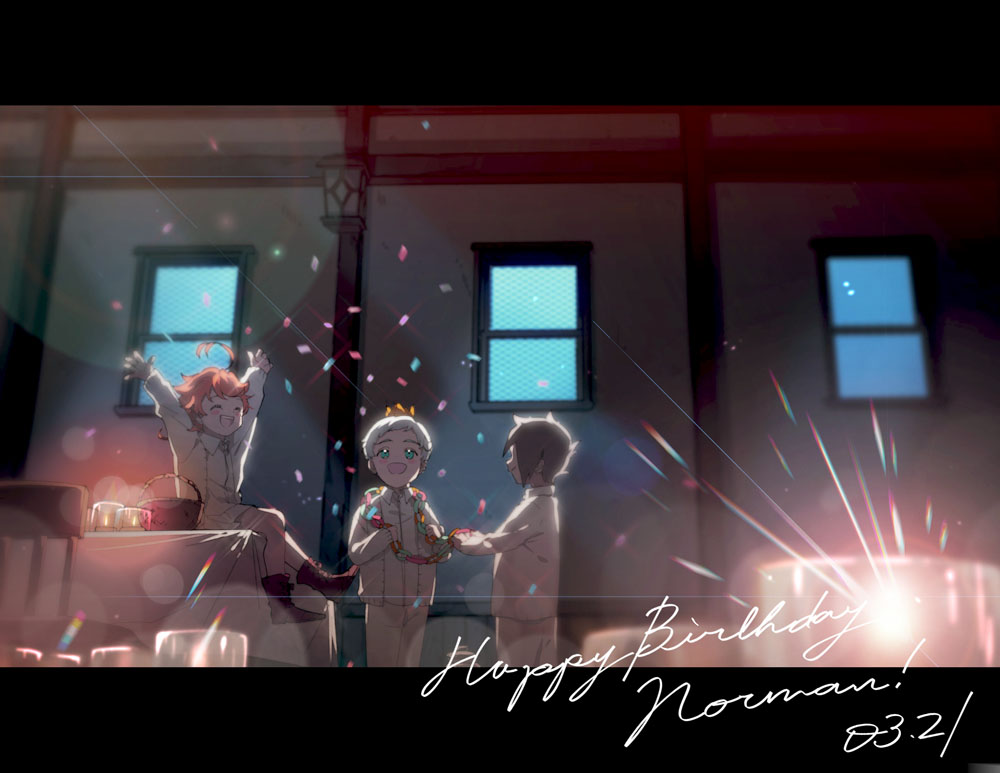 1girl 2boys :d ^_^ ankle_boots aqua_eyes arms_up basket birthday black_hair blurry bokeh boots candle cardigan chair child closed_eyes confetti crown dark depth_of_field emma_(yakusoku_no_neverland) glass glint happy happy_birthday indoors lantern letterboxed long_sleeves maniwa multiple_boys norman_(yakusoku_no_neverland) on_table open_mouth orange_hair pants profile ray_(yakusoku_no_neverland) red_footwear shirt sitting skirt smile standing table tablecloth wall white_hair white_pants white_shirt window yakusoku_no_neverland