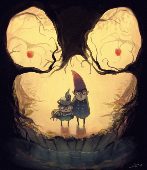 2boys apple beatrice_(over_the_garden_wall) bird brothers brown_hair cape food forest frog fruit gregory_(over_the_garden_wall) horror_(theme) koto_inari multiple_boys nature over_the_garden_wall overalls pointy_hat river siblings teapot when_you_see_it wirt_(over_the_garden_wall)