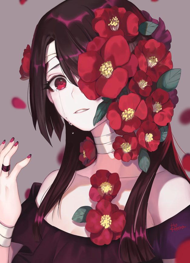1girl bandaged_head bandaged_neck bandaged_wrist bandages bare_shoulders blurry blurry_background camellia close-up collarbone crying crying_with_eyes_open eyelashes fingernails flower flower_over_eye frilled_shirt frills fuu_kotora grey_background hair_flower hair_ornament hair_over_one_eye hand_up jewelry leaf long_hair looking_at_viewer off_shoulder original pale_skin parted_lips petals purple_hair purple_nails purple_shirt red_eyes red_flower ring shirt signature simple_background solo straight_hair tears upper_body