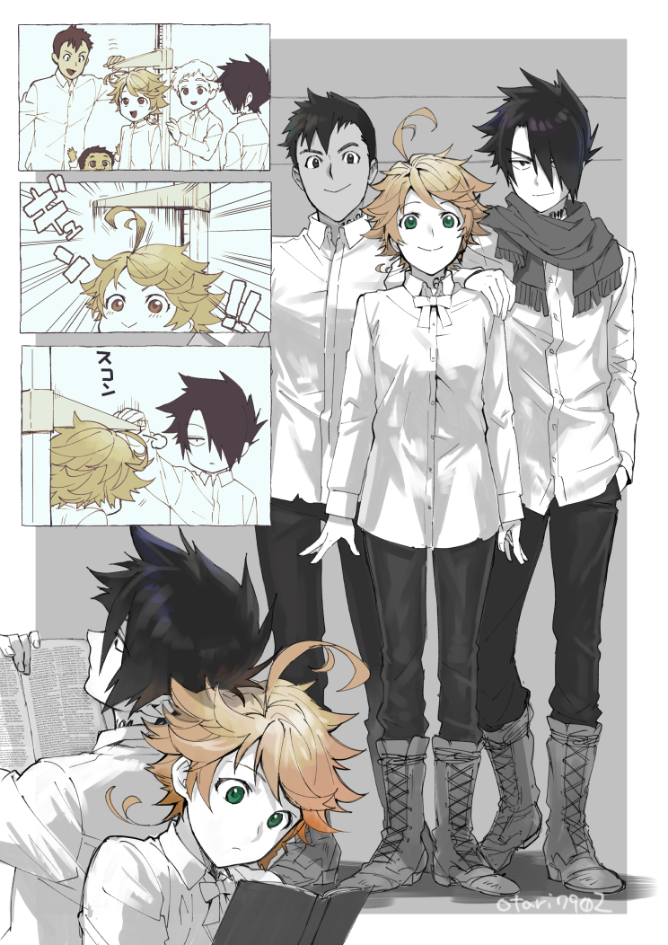 1girl 4boys :> ahoge back-to-back book boots breasts brown_eyes brown_hair cheating_(competitive) child dark_skin dark_skinned_male don_(yakusoku_no_neverland) dress_shirt emma_(yakusoku_no_neverland) green_eyes hair_over_one_eye height_difference height_rod indesign jitome measuring multiple_boys neck_ribbon neck_tattoo norman_(yakusoku_no_neverland) pants partially_colored phil_(yakusoku_no_neverland) ray_(yakusoku_no_neverland) reading ribbon scarf shirt smile standing tattoo yakusoku_no_neverland