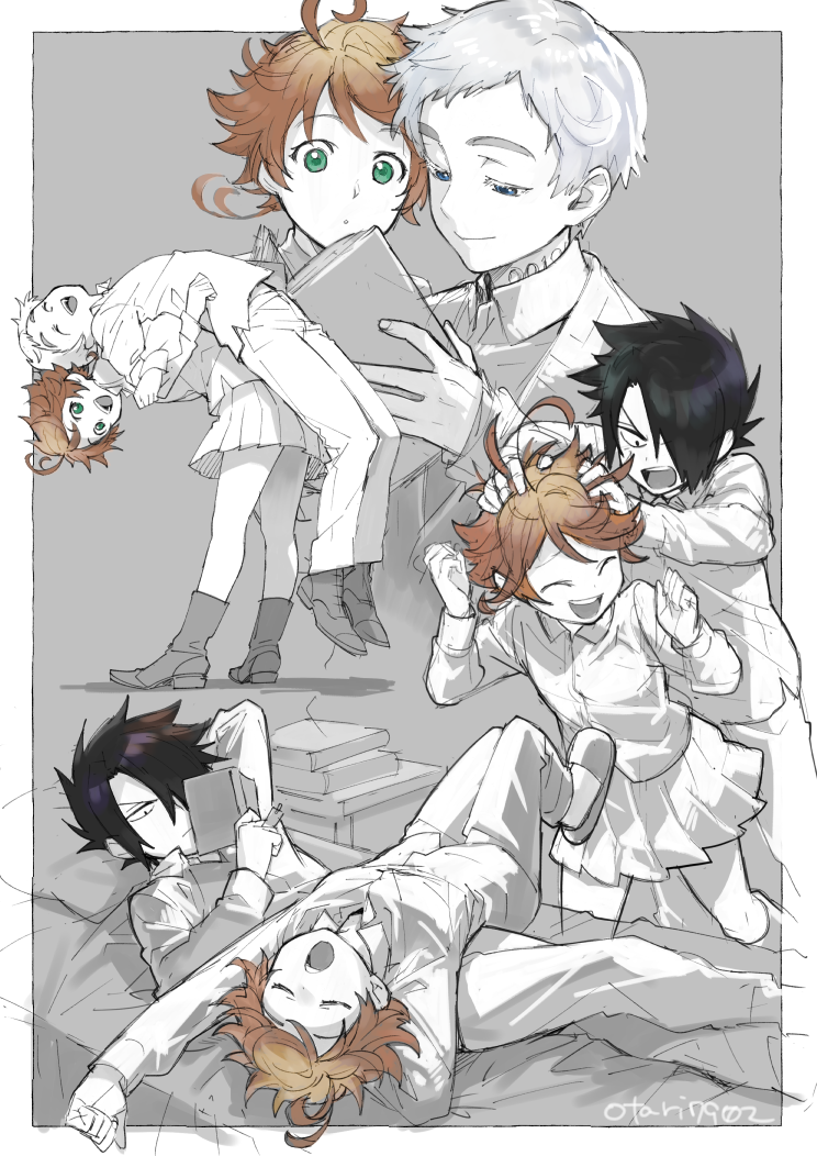 1girl 2boys arm_pillow arm_up back-to-back black_hair book book_stack bookmark boots brown_eyes cardigan closed_eyes crossed_arms emma_(yakusoku_no_neverland) foot_dangle green_eyes holding holding_book indesign laughing lying miniskirt multiple_boys multiple_views norman_(yakusoku_no_neverland) on_back on_bed on_person open_book outside_border partially_colored pillow pleated_skirt ray_(yakusoku_no_neverland) reading scratching_head shoes silver_hair sketch skirt slippers standing stretch yakusoku_no_neverland yawning