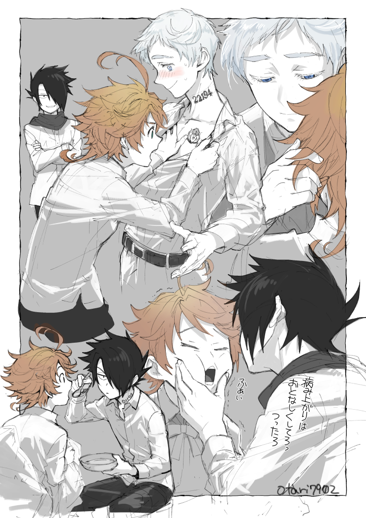 1girl 2boys belt black_hair blue_eyes blush bowl brown_hair cheek_squash chest_tattoo clothes_grab collared_shirt covered_eyes crossed_arms emma_(yakusoku_no_neverland) feeding green_eyes hair_over_one_eye half-closed_eyes hand_in_hair hand_under_clothes holding holding_bowl holding_spoon indesign looking_at_another multiple_boys neck_tattoo nervous norman_(yakusoku_no_neverland) open_mouth outside_border profile ray_(yakusoku_no_neverland) scarf shirt silver_hair sitting sketch smirk spoon sweat tattoo trembling yakusoku_no_neverland