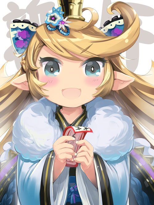 1girl blonde_hair blue_eyes blush bow charlotta_fenia color_73 commentary_request crown eyebrows_visible_through_hair granblue_fantasy hair_bow harvin holding japanese_clothes kimono long_sleeves looking_at_viewer obi pointy_ears sash solo v-shaped_eyebrows