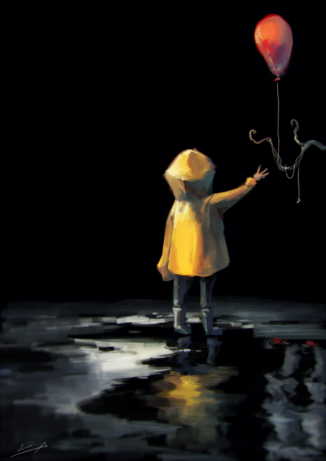 2boys balloon boots child clown different_reflection from_behind georgie_denbrough horror_(theme) it_(stephen_king) koto_inari multiple_boys pennywise puddle reflection sleeves_past_wrists tree_branch yellow_raincoat