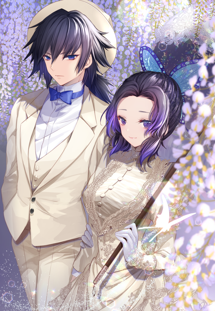 1boy 1girl arm_at_side arm_holding bangs black_hair blue_bow blue_eyes blue_neckwear blurry bow bowtie breasts butterfly_hair_ornament buttons carrying_over_shoulder couple cowboy_shot depth_of_field dress flower formal gloves gradient_hair hair_ornament height_difference hetero highres holding holding_umbrella kimetsu_no_yaiba kochou_shinobu lace large_breasts long_sleeves looking_at_viewer medium_hair mitsunari_miyako multicolored_hair parasol purple_hair shirt side-by-side sidelocks smile suit tomioka_giyuu umbrella vest violet_eyes white_butterfly white_dress white_gloves white_headwear white_shirt wisteria