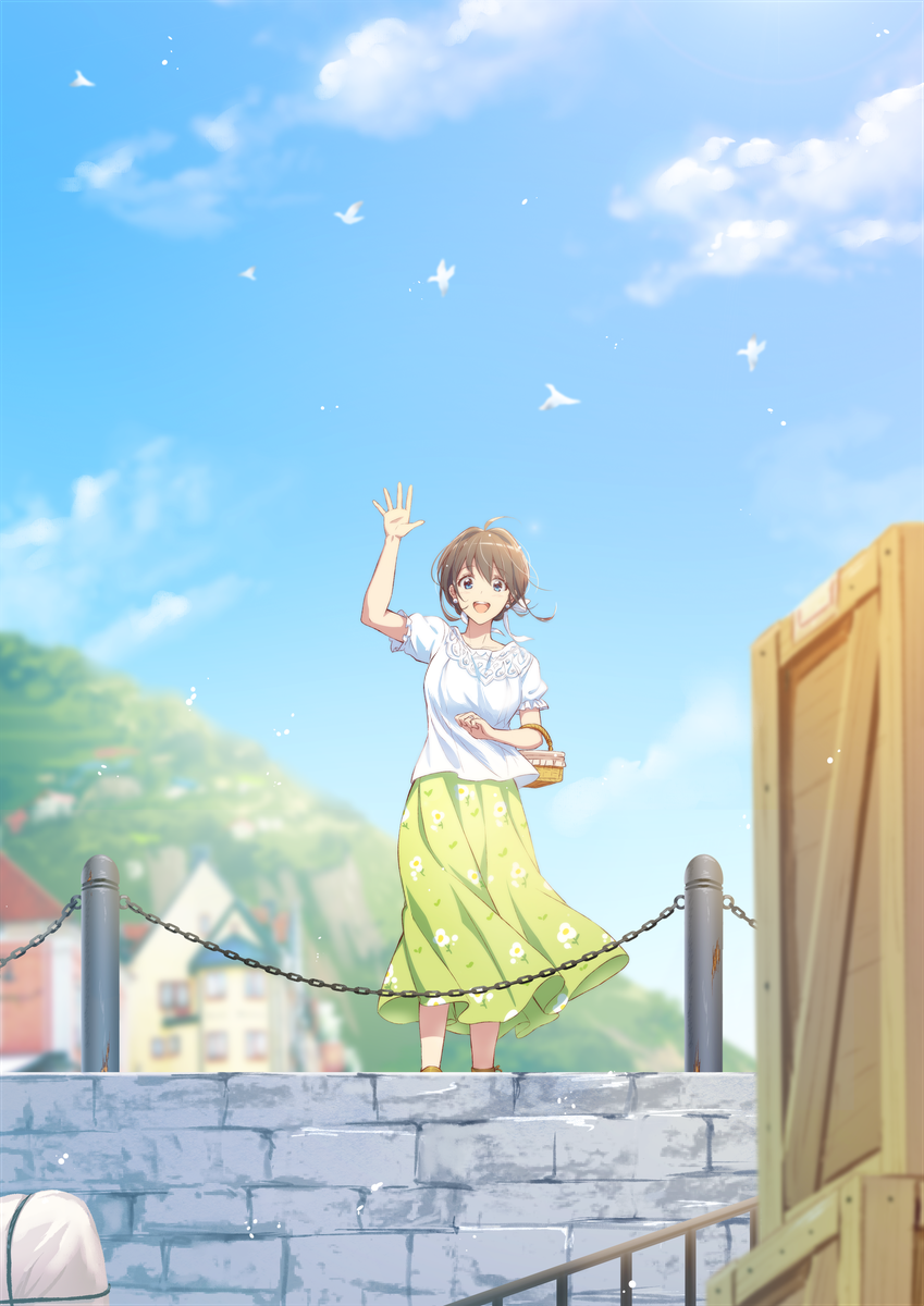 1girl :d animal arm_up bangs basket bird blue_eyes blue_sky blurry blurry_background blurry_foreground blush bow breasts brown_hair building chain clouds commentary_request crate day depth_of_field eyebrows_visible_through_hair floral_print green_skirt hair_between_eyes hair_bow highres medium_breasts mono_lith open_mouth original outdoors print_skirt puffy_short_sleeves puffy_sleeves revision shirt short_sleeves skirt sky smile solo standing waving white_bow white_shirt