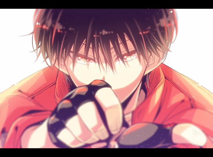 1boy black_gloves black_hair face fingerless_gloves gloves hagiri_kaname jacket looking_at_viewer male_focus portrait red_eyes red_jacket rinko_(usoppachi) short_hair soles yuu_yuu_hakusho