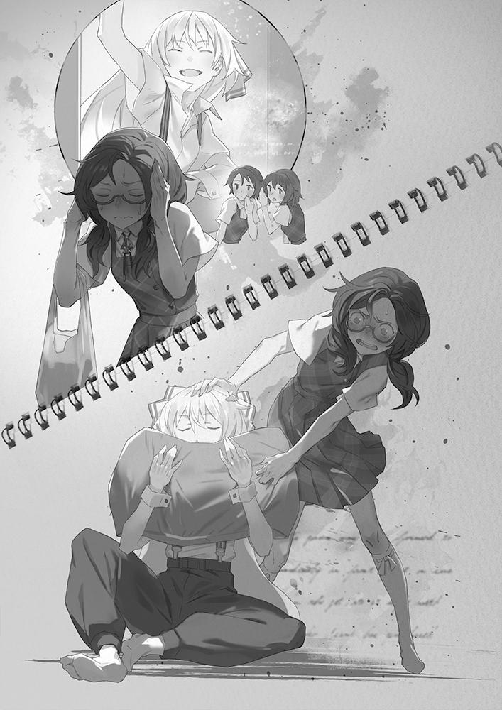 4girls bag blush bow closed_eyes embarrassed fujiwara_no_mokou hair_bow kneehighs monochrome multiple_girls o_o pillow skirt smelling smile suspenders sweatdrop touhou usami_sumireko waving yamamomo_(plank)