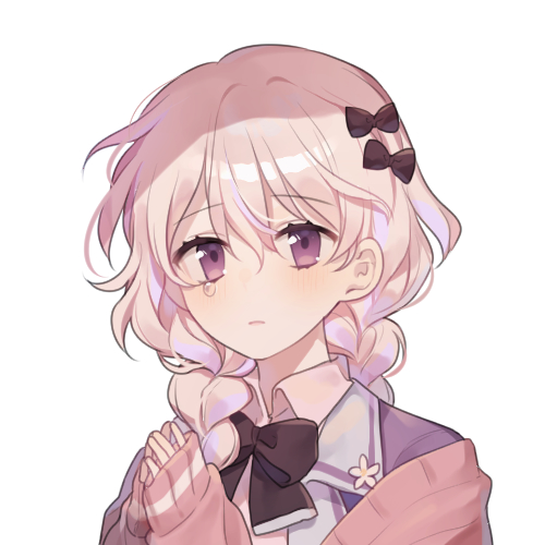 1girl bangs black_bow blush bow braid brown_eyes brown_jacket closed_mouth collared_shirt eyebrows_visible_through_hair hair_between_eyes hair_bow hair_over_shoulder hands_up jacket long_hair long_sleeves lowres moffle_(ayabi) open_clothes open_jacket original pink_shirt purple_jacket shirt simple_background sleeves_past_wrists solo tears twin_braids upper_body white_background