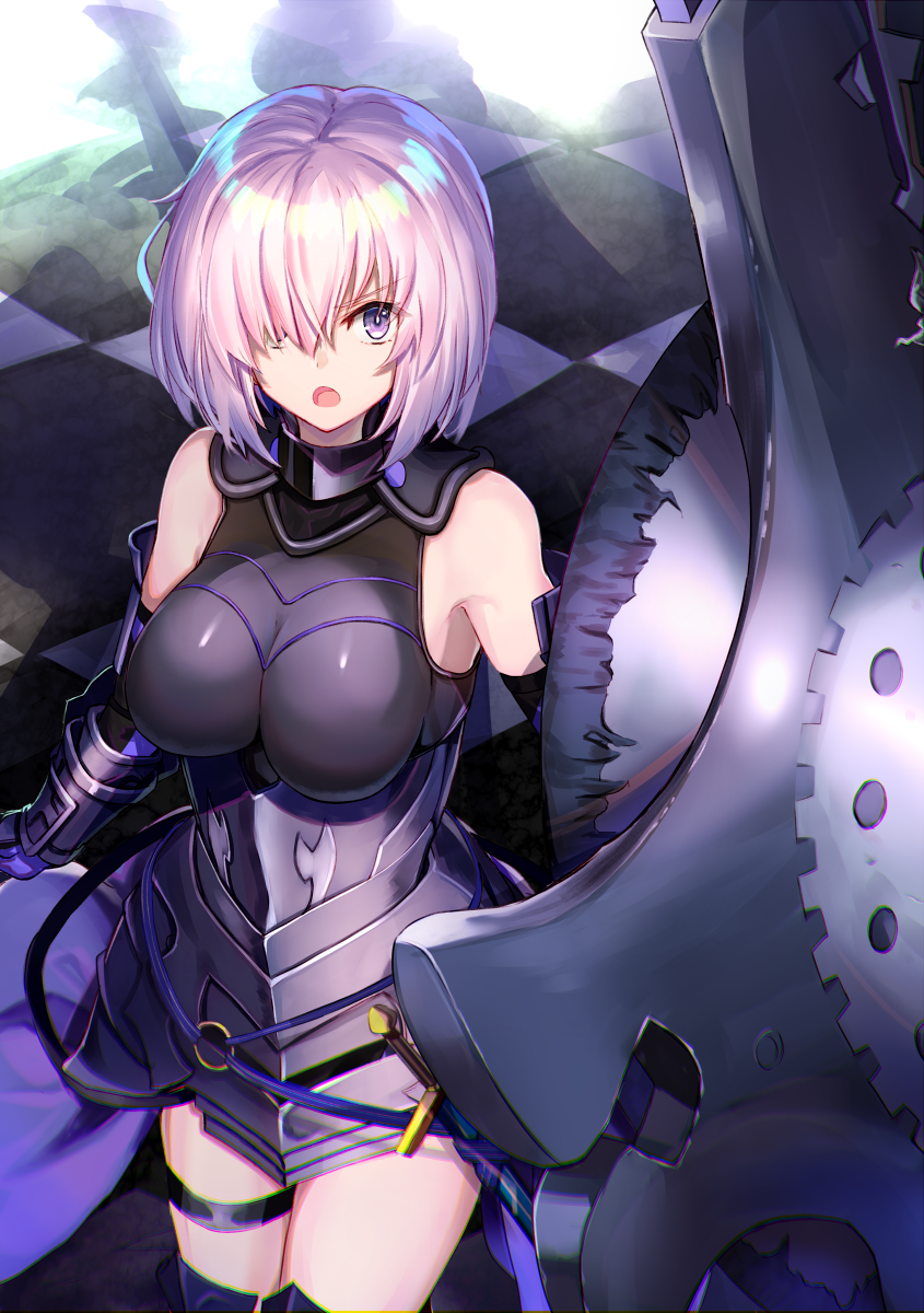 1girl arm_guards armored_leotard bare_shoulders black_legwear black_leotard breasts elbow_gloves eyebrows_visible_through_hair fate/grand_order fate_(series) gloves hair_over_one_eye highres holding_shield large_breasts leotard mash_kyrielight ninoude_(ninoude44) open_mouth pink_hair pov sheath sheathed shield short_hair solo sword thigh-highs thigh_strap vambraces violet_eyes weapon