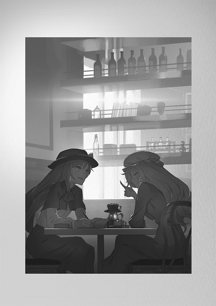 2girls book bottle bow capelet chair cup dress hat hat_bow long_hair maribel_hearn monochrome multiple_girls pen sitting skirt table teacup touhou usami_renko yamamomo_(plank)