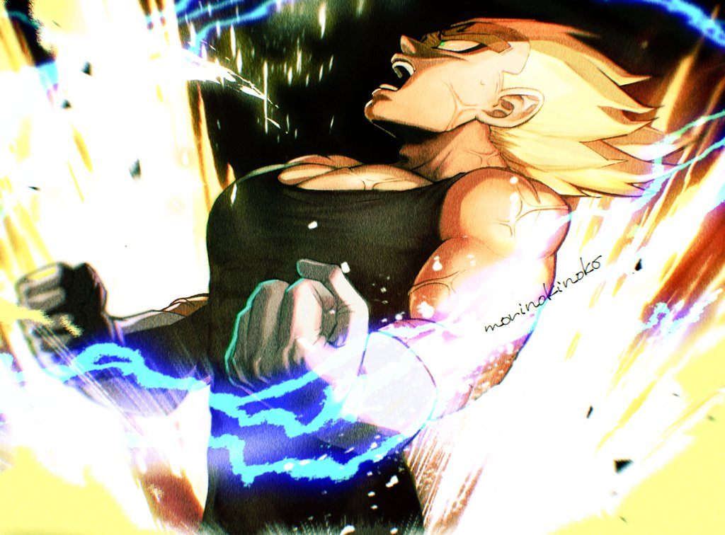 1boy aura blonde_hair blurry blurry_foreground clenched_hands commentary_request depth_of_field dragon_ball dragon_ball_z electricity frown gloves green_eyes leaning leaning_back majin_vegeta male_focus morinokinoko_db muscle open_mouth shaded_face spiky_hair super_saiyan sweat teeth twitter_username upper_body vegeta veins white_gloves