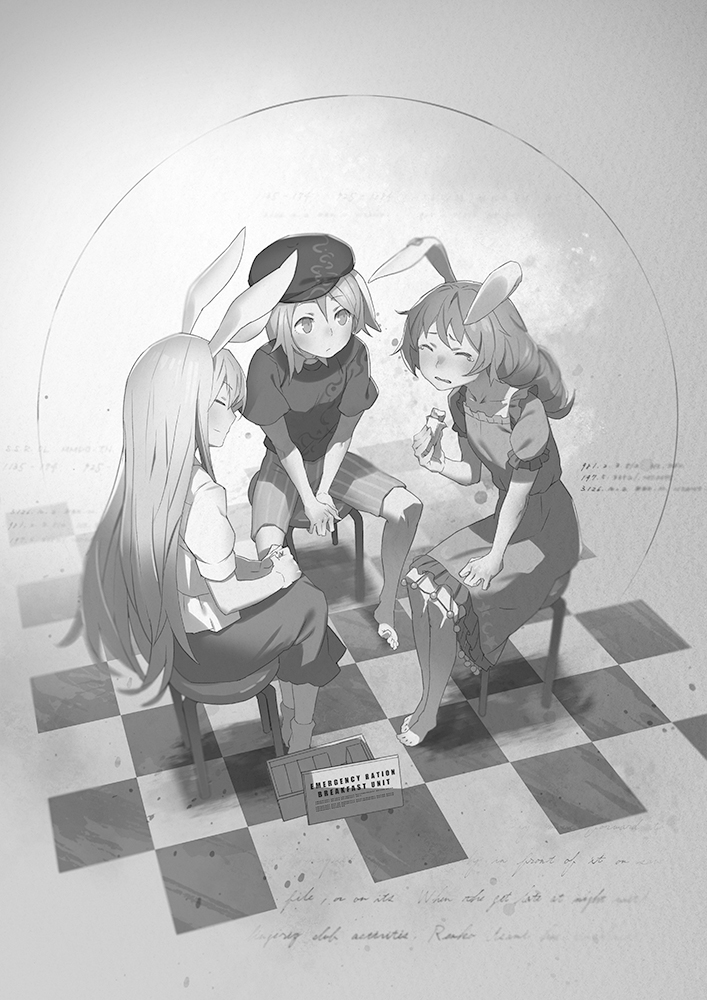 3girls animal_ears barefoot chair earrings from_behind hand_on_leg hat jewelry long_hair monochrome multiple_girls rabbit_ears reisen_udongein_inaba ringo_(touhou) seiran_(touhou) sitting skirt touhou yamamomo_(plank)