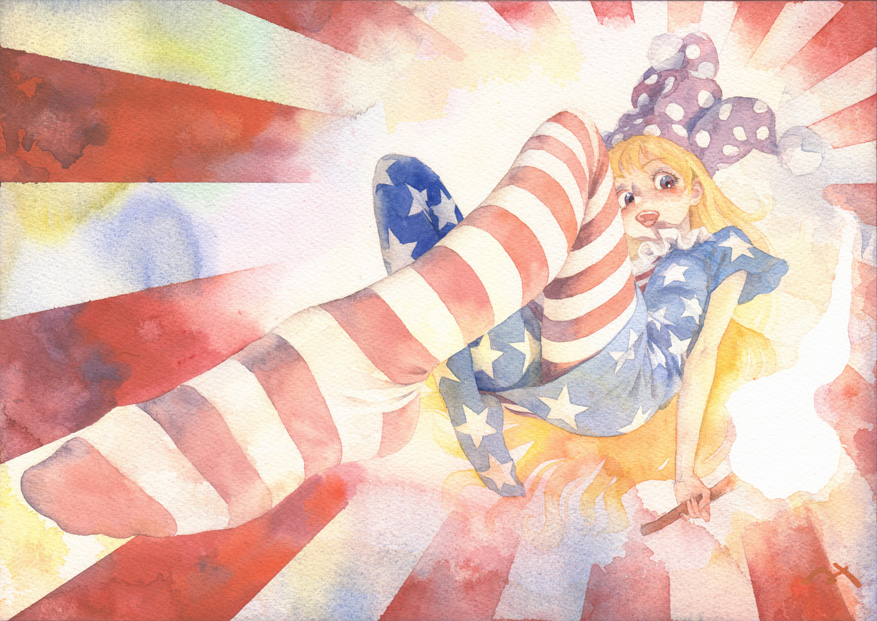 1girl american_flag_dress american_flag_legwear blonde_hair clownpiece commentary_request fire flame from_below hat holding jester_cap long_hair looking_at_viewer misawa_hiroshi neck_ruff open_mouth perspective plantar_flexion red_eyes short_sleeves solo sunburst sunburst_background torch touhou traditional_media watercolor_(medium)
