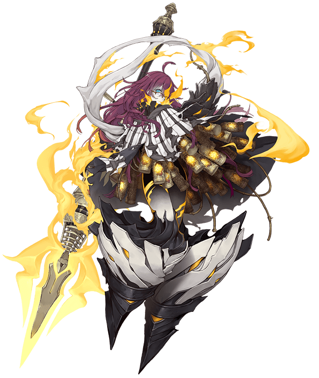 1girl ahoge black_skin blue_eyes cable canister cloak dark_persona dorothy_(sinoalice) fire full_body glasses glowing glowing_eyes glowing_tattoo half-nightmare high_collar ji_no long_hair looking_at_viewer messy_hair multicolored multicolored_skin no_feet official_art one_eye_covered over-rim_eyewear polearm purple_hair semi-rimless_eyewear shawl sinoalice solo spear tattoo torn_cloak torn_clothes transparent_background weapon white_skin