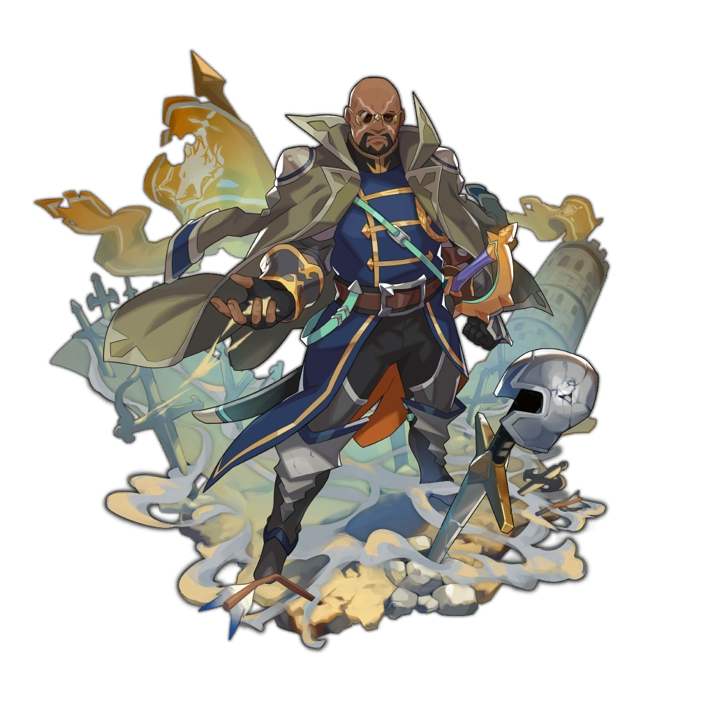 1boy bald beard boots dark_skin dark_skinned_male dragalia_lost dust facial_hair facial_scar fingerless_gloves frown full_body glasses gloves helm helmet jacket_on_shoulders looking_at_viewer official_art rock saitou_naoki scar solo sword tower transparent_background victor_(dragalia_lost) weapon