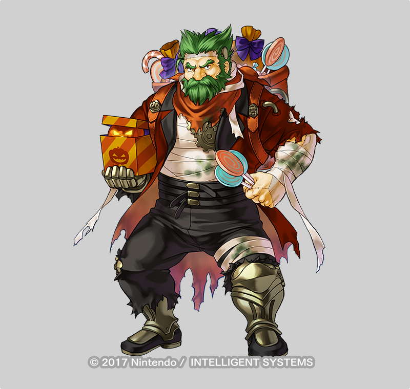 1boy alternate_costume armored_boots bag bandages beard boots bow candy dozla_(fire_emblem) facial_hair fire_emblem fire_emblem:_the_sacred_stones fire_emblem_heroes food full_body gears green_eyes green_hair grey_background halloween_costume kita_senri mustache official_art pumpkin scar solo torn_clothes