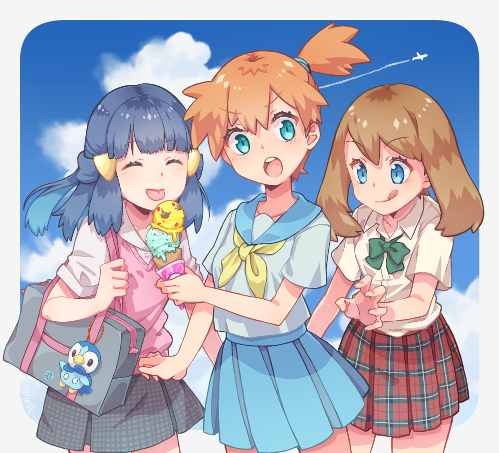 3girls :p :q aircraft airplane aqua_eyes bag bag_charm blue_eyes blue_hair brown_hair charm_(object) closed_eyes condensation_trail cowboy_shot creatures_(company) cute food game_freak hair_ornament hairclip haruka_(pokemon) hikari_(pokemon) ice_cream ice_cream_cone kasumi_(pokemon) long_hair moe multiple_girls nintendo olm_digital open_mouth orange_hair piplup plaid plaid_skirt pleated_skirt pokemon pokemon_(anime) pokemon_(classic_anime) pokemon_(game) pokemon_dppt pokemon_dppt_(anime) pokemon_gsc pokemon_gsc_(anime) pokemon_rgby pokemon_rgby_(anime) pokemon_rse pokemon_rse_(anime) round_teeth s_(happycolor_329) school_bag school_uniform serafuku short_hair side_ponytail skirt sky summer sweater_vest teeth tongue tongue_out tv_tokyo