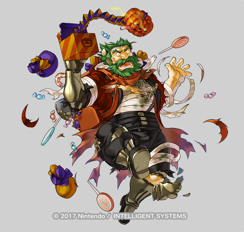 1boy alternate_costume armored_boots bag bandages beard boots bow candy dozla_(fire_emblem) facial_hair fire_emblem fire_emblem:_the_sacred_stones fire_emblem_heroes food full_body glowing glowing_eyes green_eyes green_hair grey_background halloween_costume kita_senri mustache official_art open_mouth pumpkin scar solo teeth torn_clothes