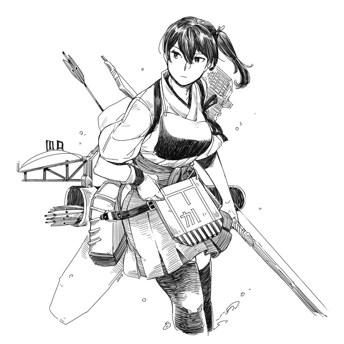 1girl arrow bangs bow_(weapon) breasts closed_mouth collarbone commentary_request cropped_legs expressionless flight_deck gloves greyscale hair_between_eyes hakama_skirt holding holding_bow_(weapon) holding_weapon japanese_clothes kaga_(kantai_collection) kantai_collection kimono leaning_forward long_hair looking_to_the_side machinery monochrome muneate partly_fingerless_gloves pleated_skirt quiver rigging side_ponytail simple_background skirt solo tasuki thigh-highs water weapon weidashming white_background yugake
