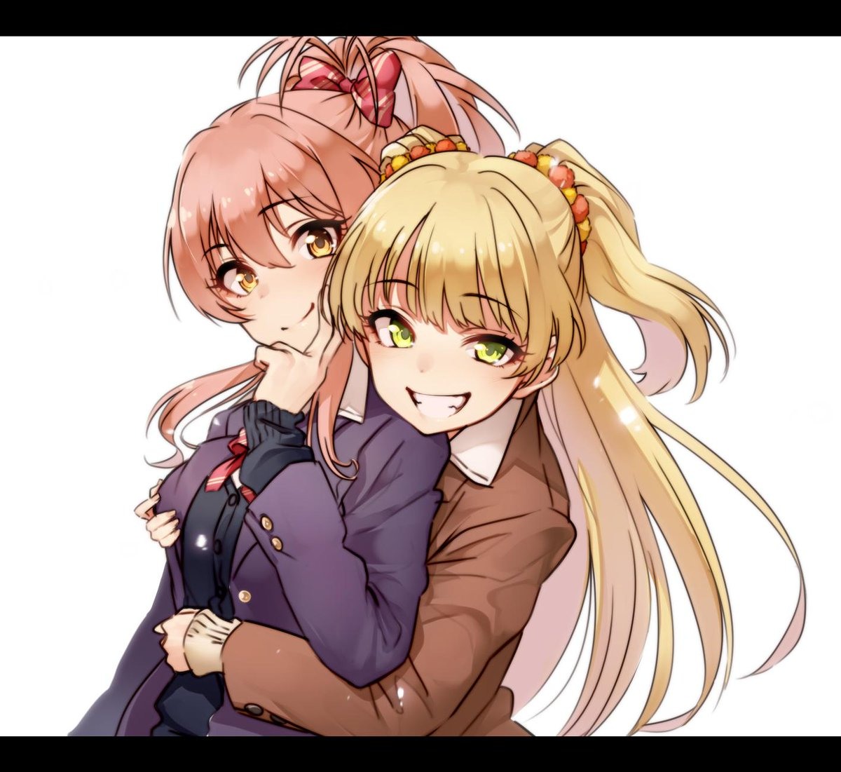 2girls bangs blazer blonde_hair breasts eyebrows_visible_through_hair green_eyes grin hug idolmaster idolmaster_cinderella_girls jacket jougasaki_mika jougasaki_rika kakaobataa long_hair looking_at_viewer multiple_girls pink_hair ponytail school_uniform siblings simple_background sisters sleeves_past_wrists smile two_side_up white_background yellow_eyes