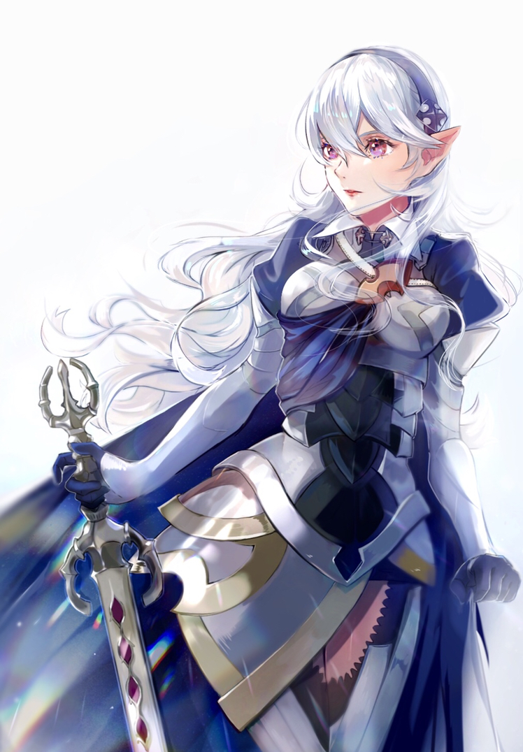 1girl armor armored_boots armored_dress boots breasts bynomeans corrin_(fire_emblem) corrin_(fire_emblem)_(female) cowboy_shot dragon_girl elf female_my_unit_(fire_emblem_if) fire_emblem fire_emblem_fates fire_emblem_if gloves hair_between_eyes hairband intelligent_systems kamui_(fire_emblem) lips long_hair manakete medium_breasts my_unit_(fire_emblem_if) nintendo pink_eyes pointy_ears silver_hair simple_background solo sword thigh-highs thigh_boots thighs wavy_hair weapon white_background