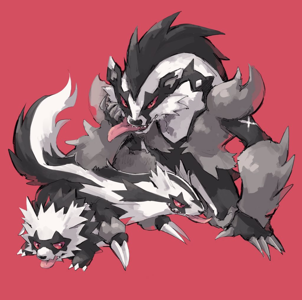 black_eyes claws fang galar_form galarian_linoone galarian_zigzagoon gen_3_pokemon gen_8_pokemon linoone no_humans obstagoon pokemon red_background red_sclera simple_background smile takase_(takase1214) tongue tongue_out zigzagoon