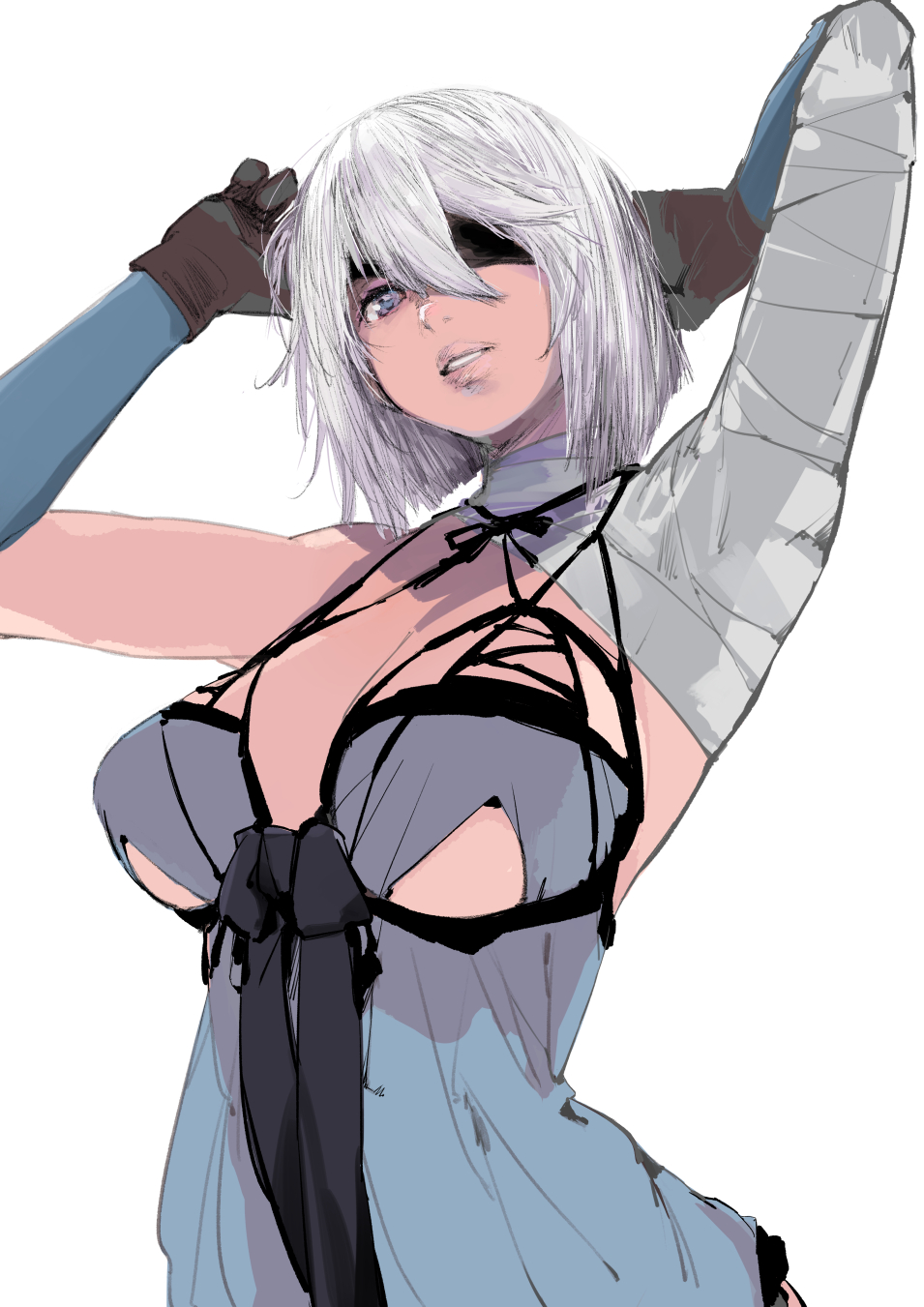 1girl arms_up bandaged_arm bandages black_bow blue_eyes bow breasts brown_gloves gloves hair_between_eyes highres kiriyama nier_(series) parted_lips short_hair simple_background solo white_background white_hair