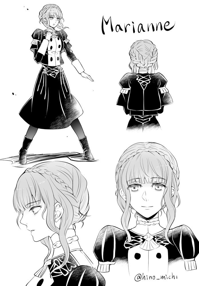 1girl braid character_name closed_mouth crown_braid fire_emblem fire_emblem:_three_houses from_behind from_side garreg_mach_monastery_uniform greyscale hino_michi long_sleeves marianne_von_edmund monochrome multiple_views open_mouth simple_background twitter_username uniform white_background