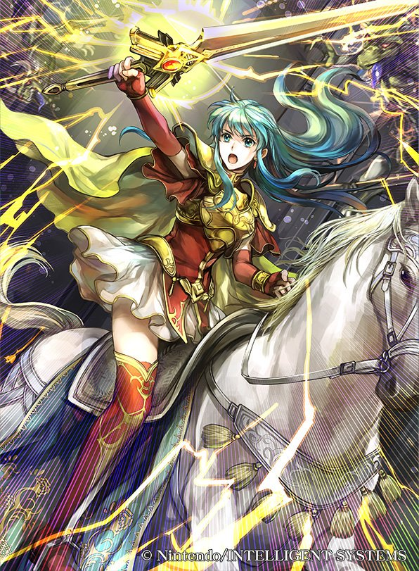 1girl aqua_eyes aqua_hair breastplate company_name copyright_name earrings eirika_(fire_emblem) fingerless_gloves fire_emblem fire_emblem:_the_sacred_stones fire_emblem_cipher gloves holding holding_sword holding_weapon horse horseback_riding jewelry lightning long_hair official_art open_mouth red_gloves riding skirt solo sword wada_sachiko weapon white_skirt