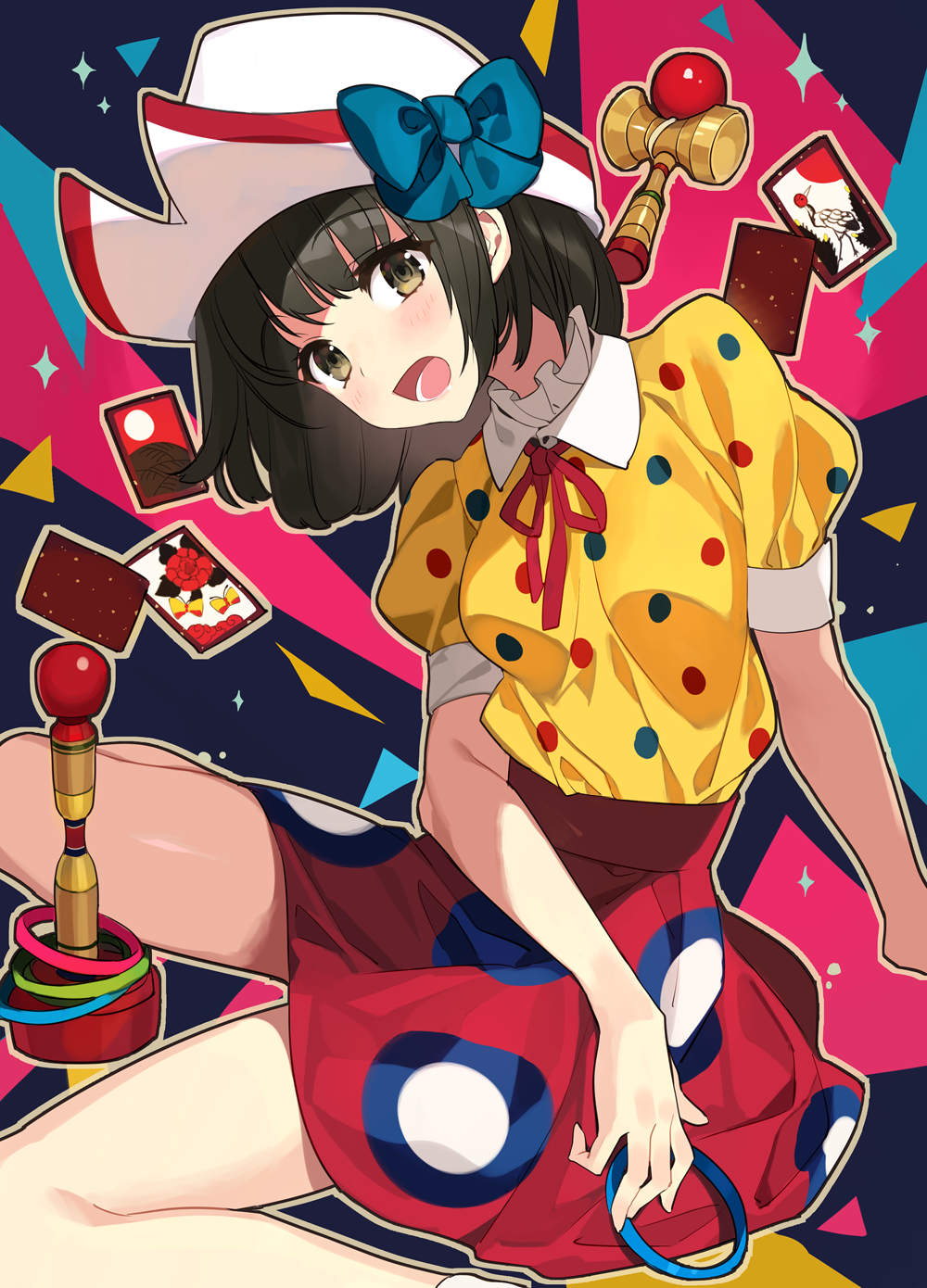 1girl :d bangs bare_legs black_hair blue_bow blush bow brown_eyes card collared_shirt eyebrows_visible_through_hair hanafuda hat head_tilt high-waist_skirt highres kendama komeo15 looking_at_viewer medium_hair neck_ribbon open_mouth original patterned_background patterned_clothing pleated_skirt polka_dot puffy_sleeves red_ribbon red_skirt ribbon shirt shirt_tucked_in short_sleeves sitting skirt smile solo toy white_headwear yellow_shirt