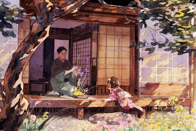 1boy 1girl 720_72 architecture barefoot black_hair bob_cut brown_hair character_request child day east_asian_architecture flower garden head_rest ikebana japanese_clothes kimono long_sleeves lying on_stomach osomatsu-san outstretched_arms seiza short_hair short_sleeves sitting sliding_doors stone table traditional_media tree veranda yukata