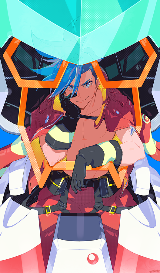 1boy arms_up black_gloves blue_eyes blue_hair chest closed_mouth collarbone eyebrows_visible_through_hair eyes_visible_through_hair firefighter galo_thymos gloves jacket leaning looking_at_viewer male_focus open_clothes ottonttn pants promare red_pants shadow shirtless sitting smile solo spiky_hair